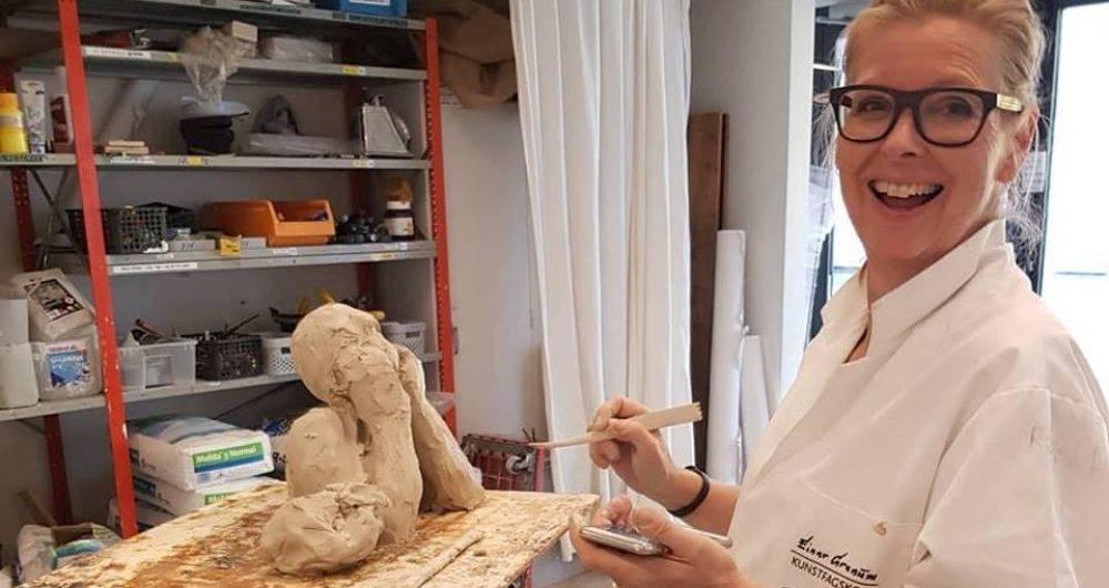 Studentarbeid i skulptursalen